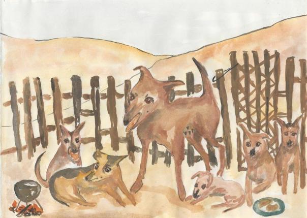 3 Bibi with 5 pups